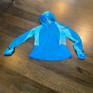 Brooks Blue Hoodie Hooded Sweatshirt M Medium EUC